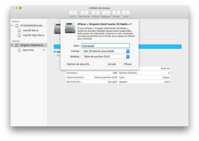 Installation propre macOS High Sierra creer cle usb