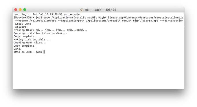 Installation propre macOS High Sierra terminal fait