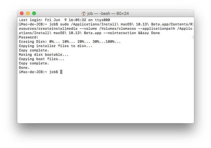 Installation propre macOS High Sierra terminal