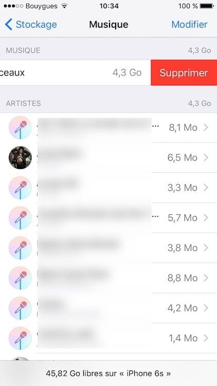 Supprimer toute la musique sur un iPhone en une fois