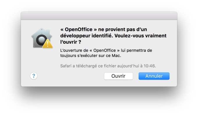 ouvrir les apps non identifiees macOS High Sierra voulez vous vraiment l'ouvrir