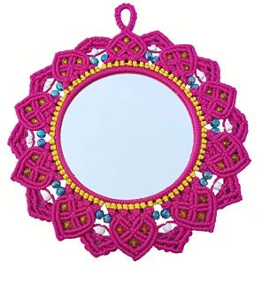 Macrame Mirror (Dark Pink) ( macrame mirror flower ) 3