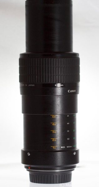 Canon MPE-65mm fully extended to 5x Magnification