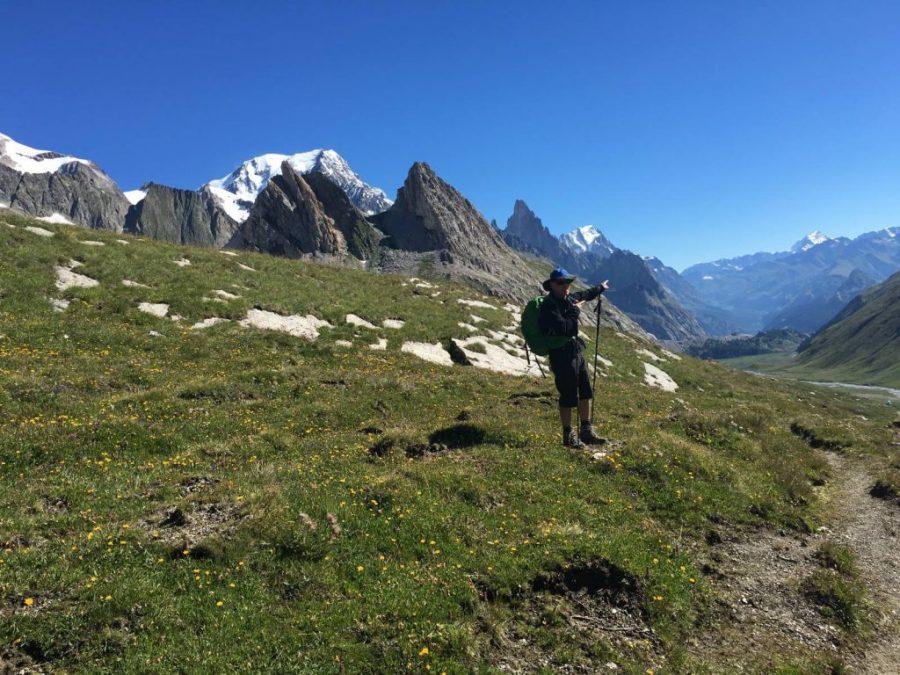A man walking the Tour du Mont Blanc.