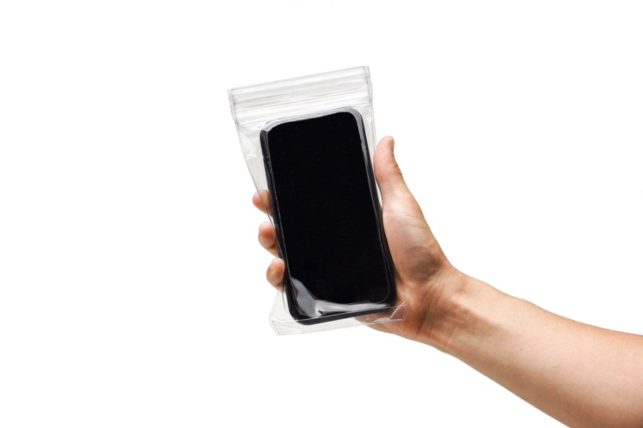 smartphone in clear plastic cover