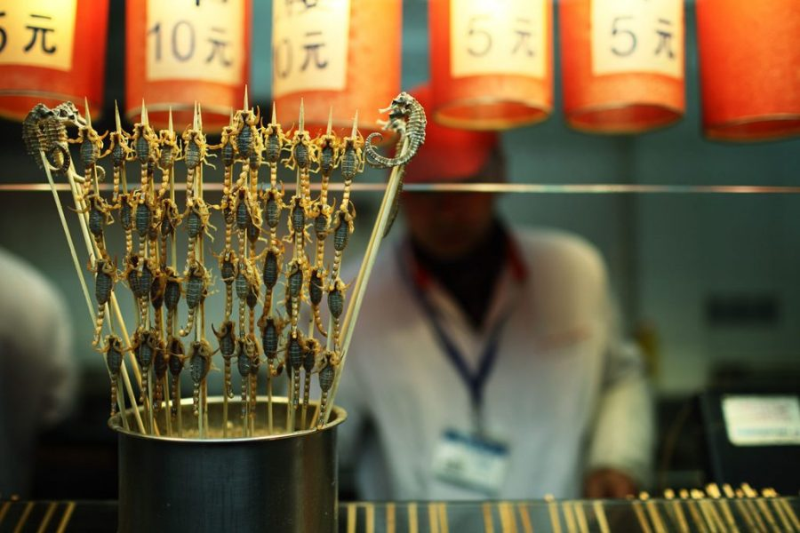 Fried scorpions for sale at a chinese street stall