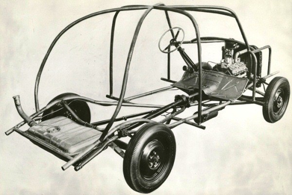 Ford soybean car chassis skeleton right rear