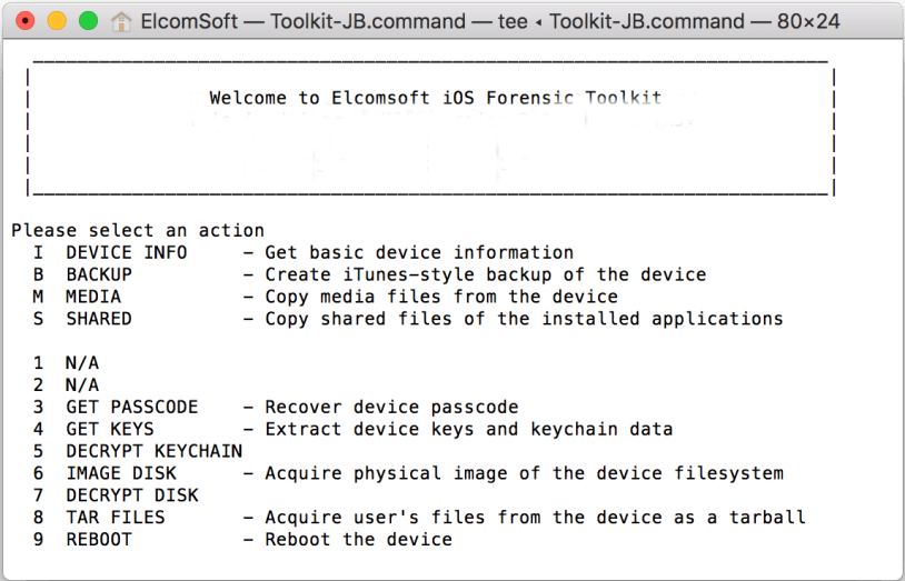 Elcomsoft iOS Forensic Toolkit Mac