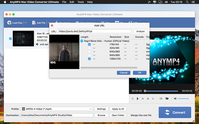 AnyMP4 Mac Video Converter Ultimate free