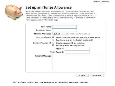 iTunes allowance setup