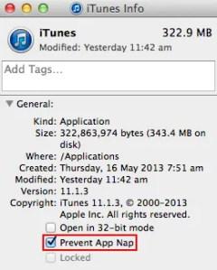 iTunes app nap