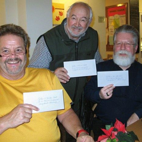 Michael, Robert und Lutz wählten als Preise Gutscheine im Wert von 50 €
