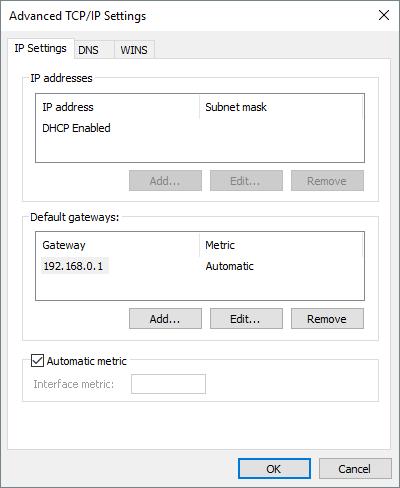 TCPIP Add Gateway