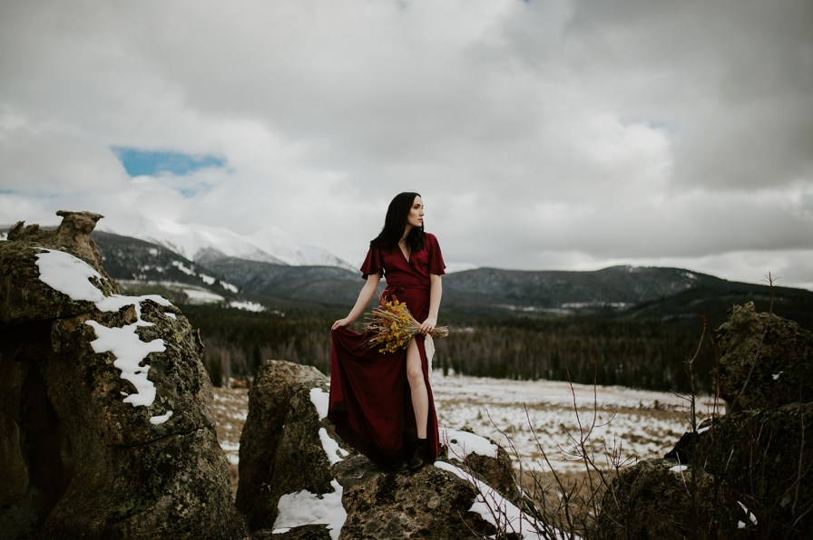 mountains red dress