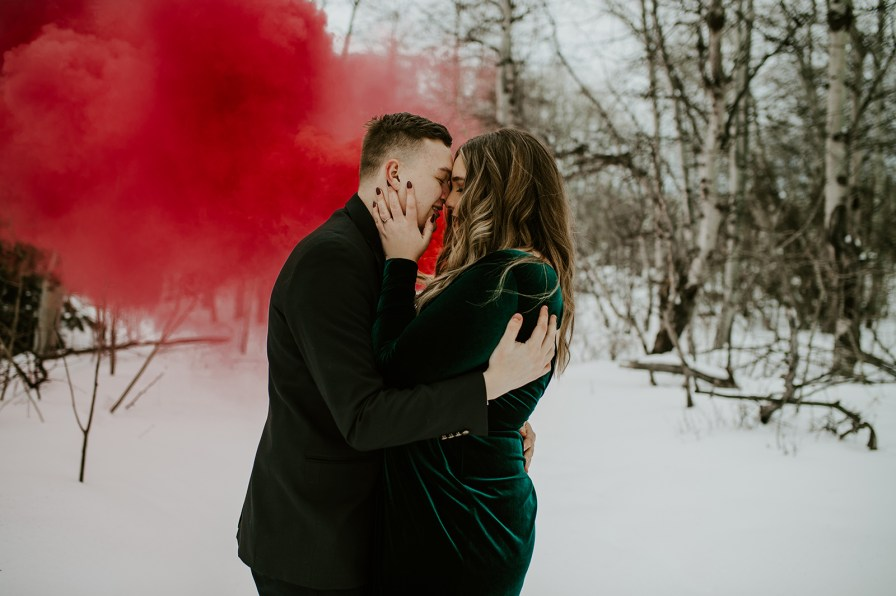 Montana winter engagement session with smoke bombs