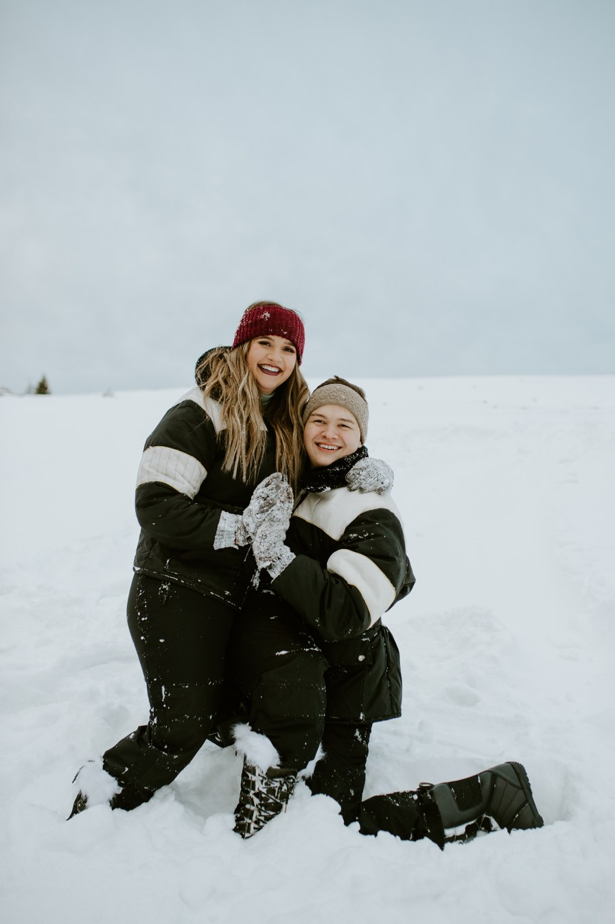 Montana winter tubing engagement session