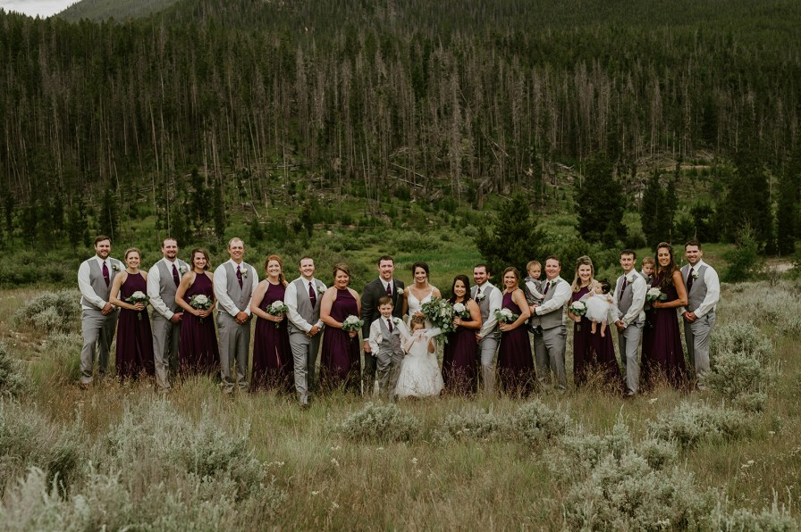 grey and purple bridal party homestake lodge