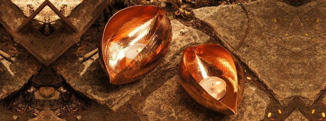 copper tea light holders from maud interiors