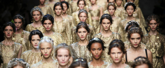Models present creations from the Dolce&Gabbana Spring/Summer 2014 collection during Milan Fashion Week