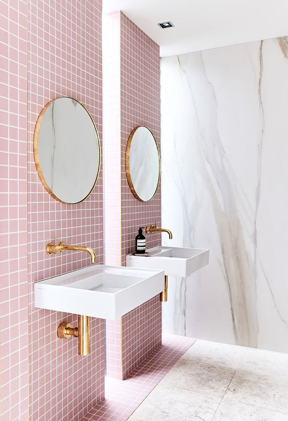 je veux une salle de bain rose