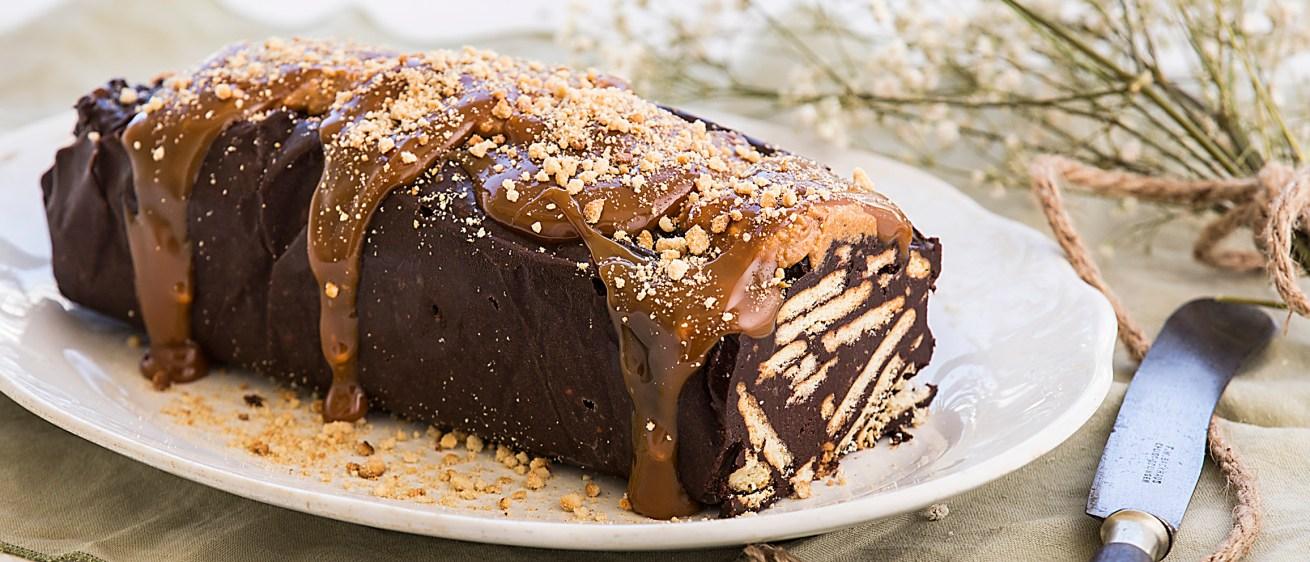 Κορμός σοκολάτας με καραμέλα & φιστικοβούτυρο (Μωσαϊκό)