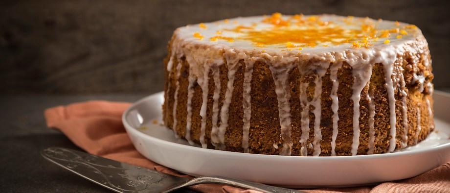 Νηστίσιμο κέικ με ταχίνι με πορτοκάλι