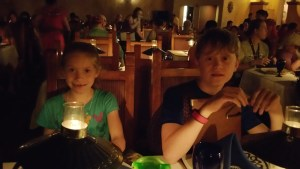 In the very dark and dimly lit San Angel Inn Restaurante at the Mexican Pavilion at EPCOT