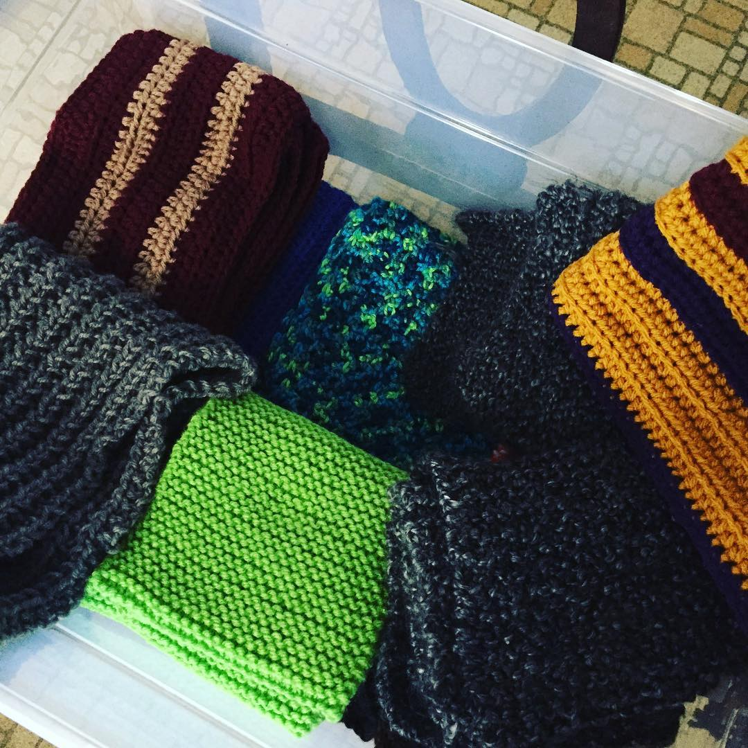 Today I'm delivering another 20 scarves to the Breaking Bread Relief. They absolutely love the scarves. If you'd like to contribute, head over to my website to find out how. #charitycrochet #charityknitting #instacraft #crochetersofinstagram #makersgonnamake #crafterslovetogive