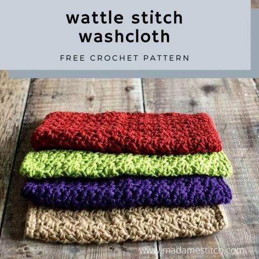 The Wattle Stitch Crochet Washcloth   Free pattern by MadameStitch