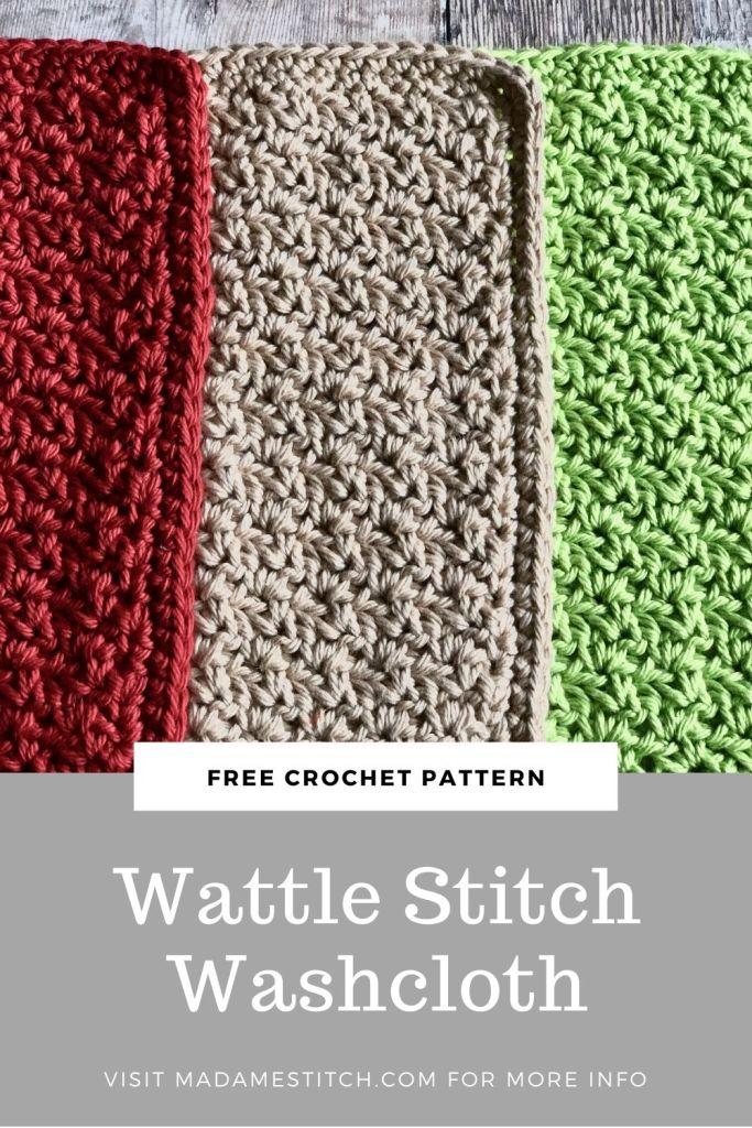 Wattle Stitch Washcloth   Free crochet pattern by MadameStitch