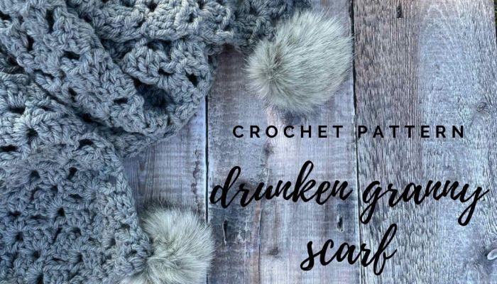 The Drunken Granny Scarf crochet pattern | A design by MadameStitch