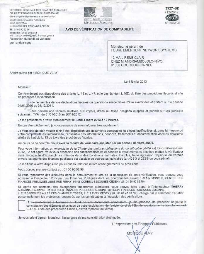 avis de verification fiscale DE 2010 A 2012 de la société EMERGENT - RANARISON Tsilavo accuse Solo d'avoir fait bénéficier la société EMERGENT de 1.047.060 euros de virements sans contrepartie alors que les résultats de EMERGENT n'est que de 59.596 euros sur la période considérée