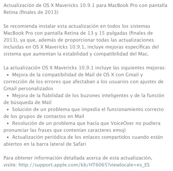 Apple OSX Mavericks 10.9.1