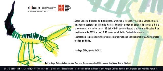 Invitación Aniversario 185 Museo Nacional de Historia Natural