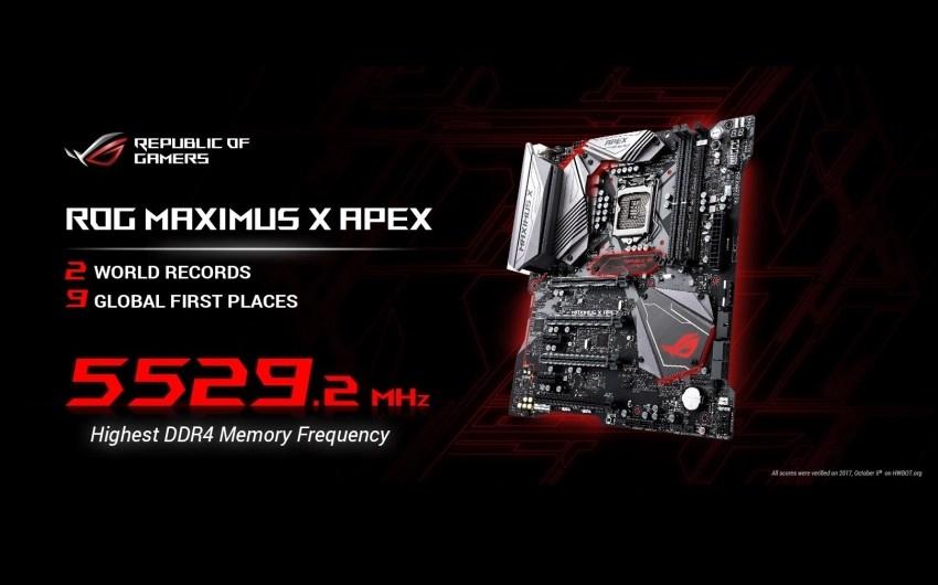La nueva ROG Maximus X Apex demuestra todo su desempeño llevándose 9 records mundiales.