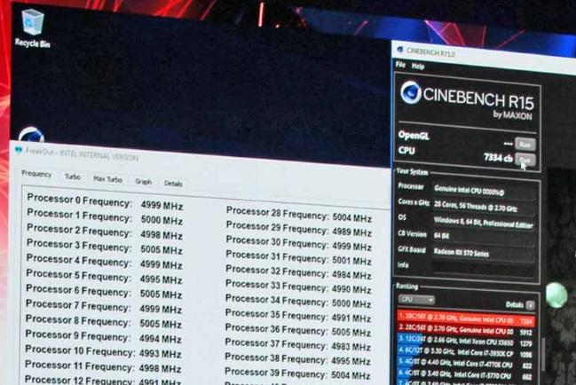 Intel presentó un CPU de 28 núcleos corriendo a 5GHz