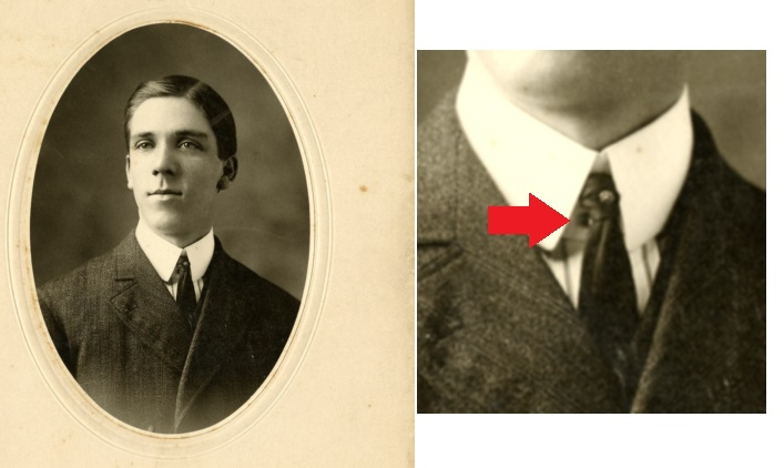 man wearing a collar stud