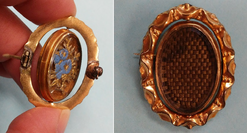 brooch containing hair