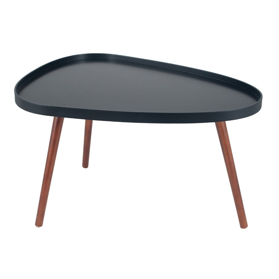 black brown pine wood teardrop coffee table