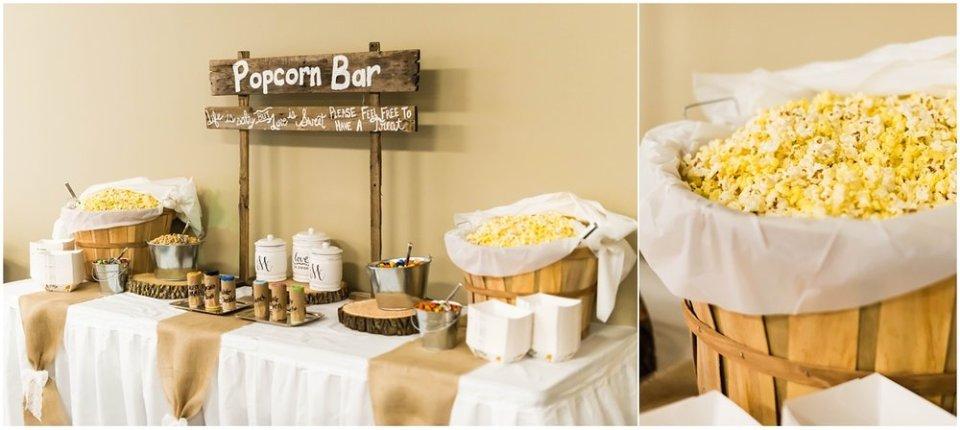 Wedding reception popcorn bar | Maddie Peschong Photography
