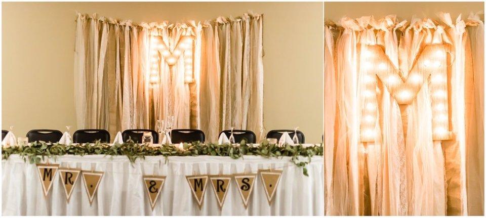 Fall burlap wedding reception decor | Maddie Peschong Photography