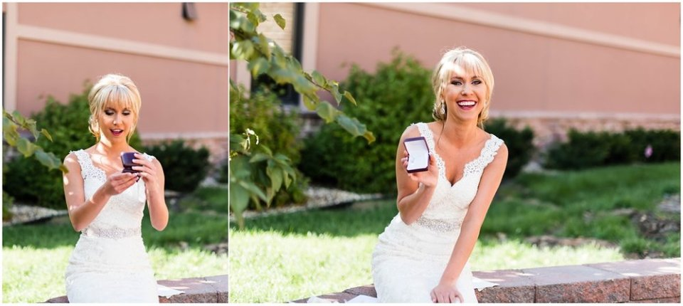 Bride opening gift from groom on wedding day | Maddie Peschong Photography