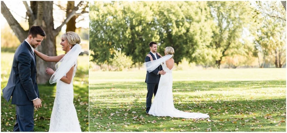 Bride and groom first look in fall park | Maddie Peschong Photography