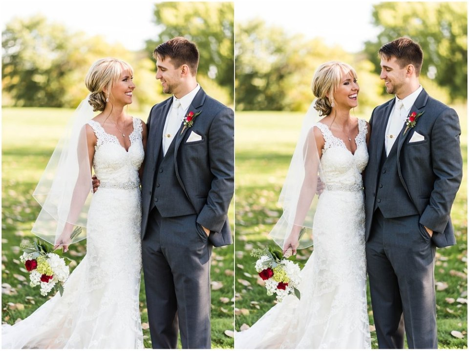 Bride and groom in fall South Dakota wedding | Maddie Peschong Photography