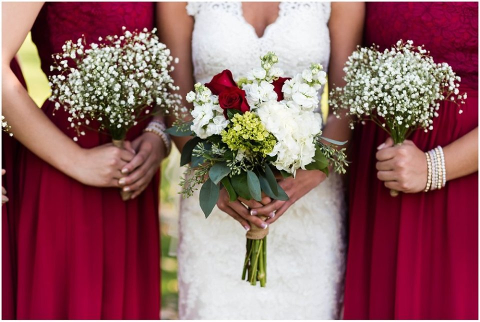 Wine and white wedding colors in bouquet | Maddie Peschong Photography