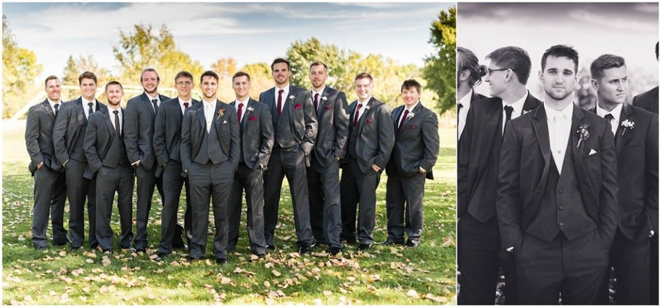 Charcoal groomsmen suits in fall wedding | Maddie Peschong Photography