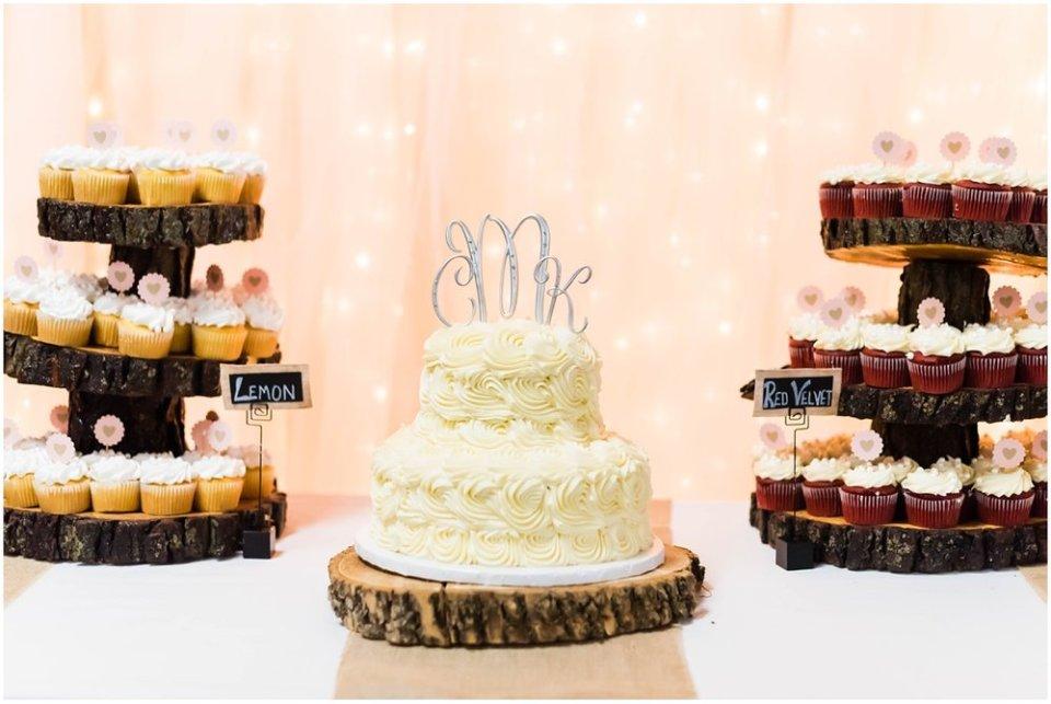 Wedding reception cake and cupcake bar | Maddie Peschong Photography
