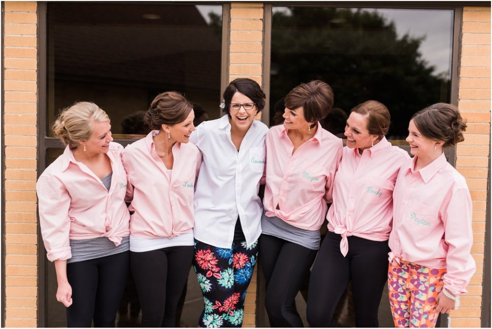 Bride and bridesmaids with personalized shirts | Maddie Peschong Photography