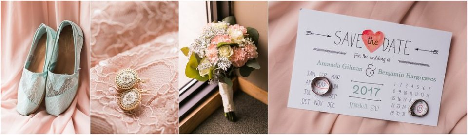 Blush and mint wedding day detail shots | Maddie Peschong Photography