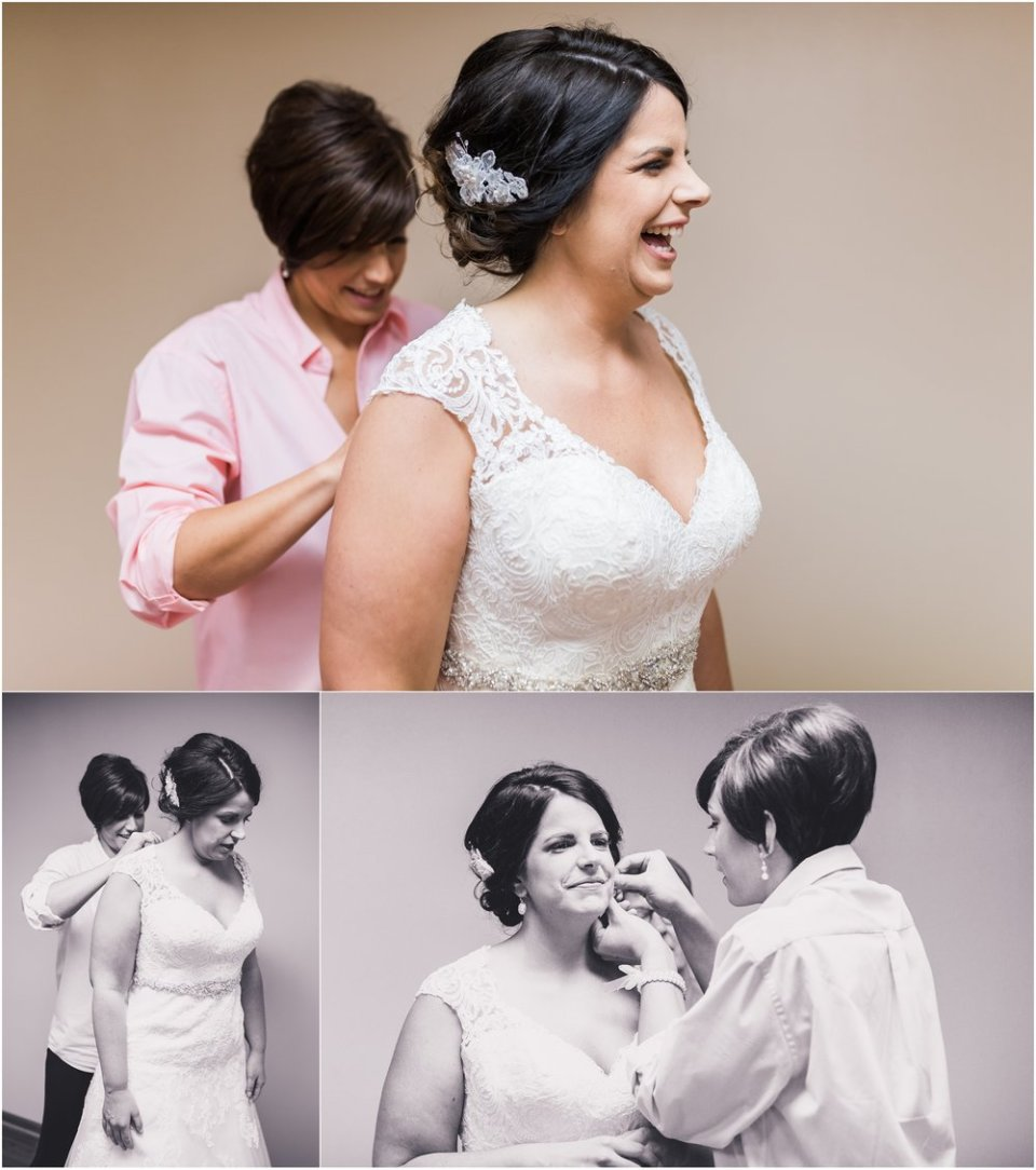 Bride and bridesmaid putting on wedding dress and jewelry | Maddie Peschong Photography